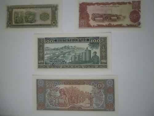 billetes de 10, 20, 100 y 500 kip de laos (1979 - 1988)
