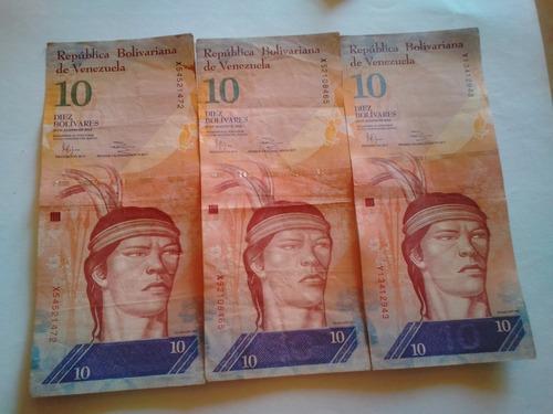 billetes de 10 bolivares años 2007, 2009, 2011, 2013 y 2014