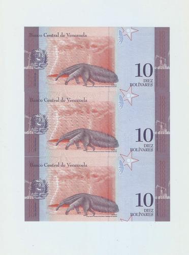 billetes de 10 correlativos serial z reposición. unc.
