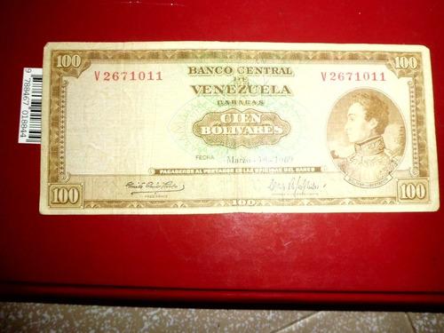 billetes de 100 bolivares antiguos de los años 1969,1970,71