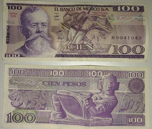 billetes de 100 pesos antiguos 1982, disponible 3
