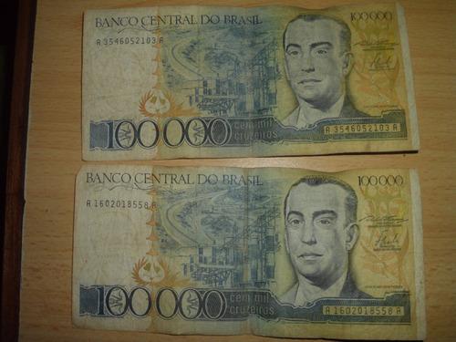 billetes de 100000 cruzeiros 1985