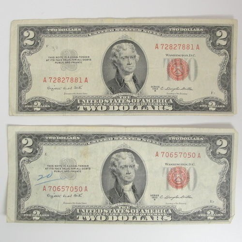 billetes de 2 dolares sello rojo, de 1963
