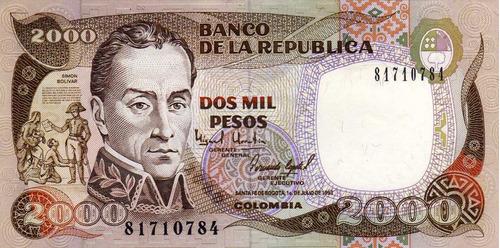 billetes de 2.000 de colombia,simon bolivar