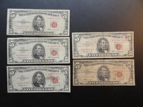 billetes de 5 dolares sello rojo, de 1963