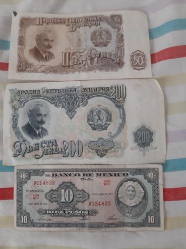 billetes de bulgaria y méxico antiguos