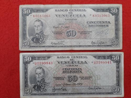 billetes de colección del recuerdo venezolano 1963- 1972