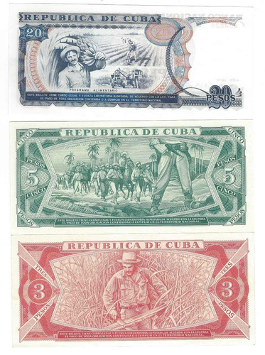 billetes de cuba uncirculated 3, 5 y 20 pesos