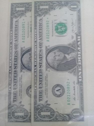 billetes de dos con estrella y con serie seguida