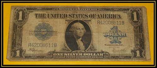 billetes de estados unidos 1 un dollar 1923 silver