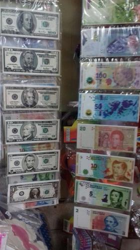billetes de juguete pesos y dolares. cotillon chirimbolos