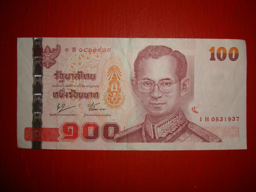 billetes de  thailandia 100 bath