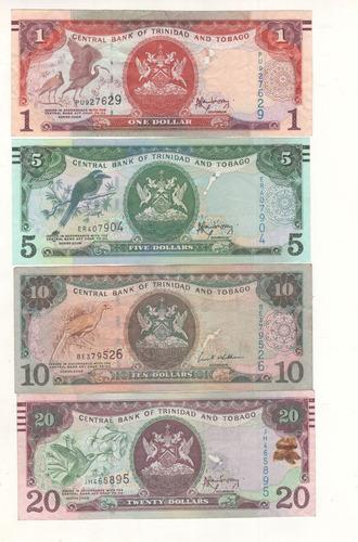 billetes de trinidad y tobago de 1, 5, 10, 20
