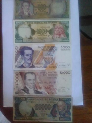 billetes ecuador 500, 1, 5, 10 y 20 mil sucres  set 03 unid.