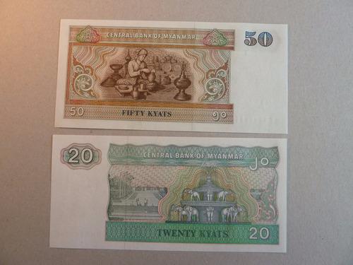 billetes lote 2 - 20 y 50 kyats myanmar - vp
