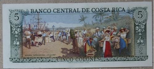 billetes mundiales : costa rica 5 colones 1989 nuevo p-236d