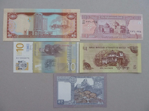 billetes mundiales lote 5 billetes - vp