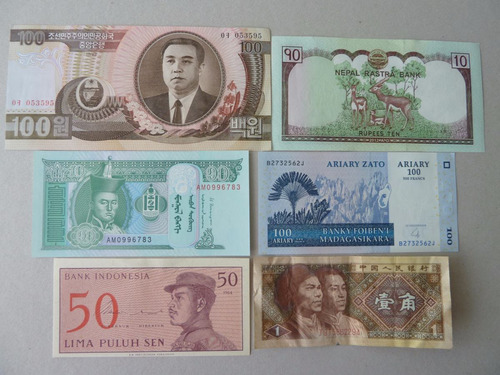 billetes mundiales lote 6 billetes - vp