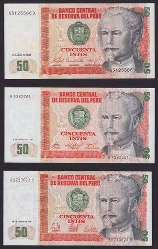 billetes peru 50 intis , 1985 , 1986 y 1987
