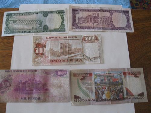 billetes uruguay-serie  año 1973/74-son 5 -ley no. 14.316