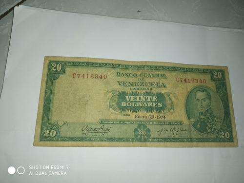 billetes venezolano de 20 año 1974