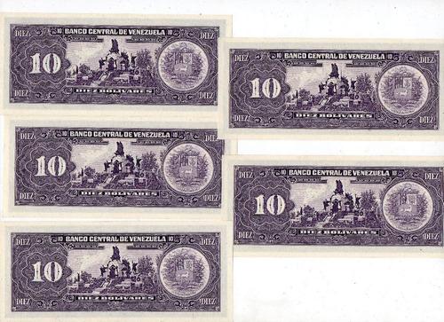billetes venezolanos 10 bs sin circular consecutivos lote
