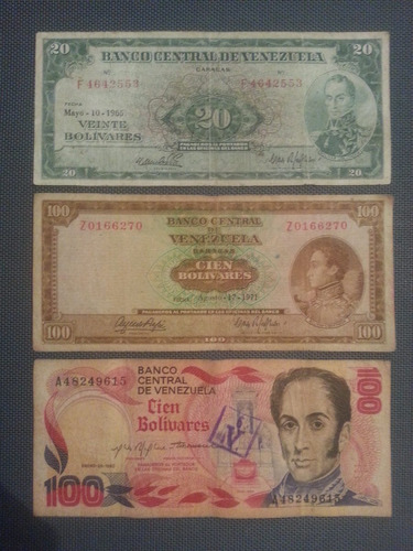 billetes venezolanos antiguos de 20 y 100 bs, 1965. 1971/80