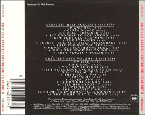 billy joel - greatest hits vol. i & vol. ii (2 cd) importado