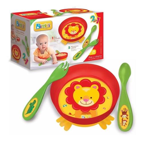 bimbi set de alimentacion 2en1 plato con tenedor y cuchara