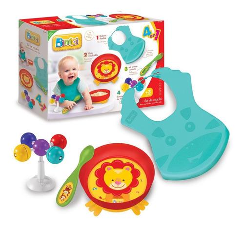 bimbi set regalo 4 en 1 plato babero hora de comer bebe smil