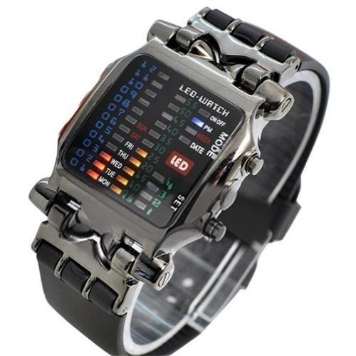 51bfb8bd2e5 Binária Led Digital Relógio Pulso Data Quadrado Dial+brinde - R  189 ...