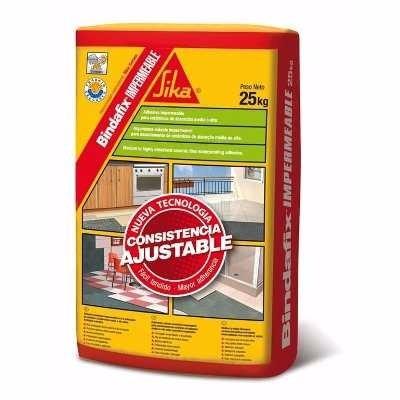 bindafix impermeable x 25 kg sika, cemento adhesivo.