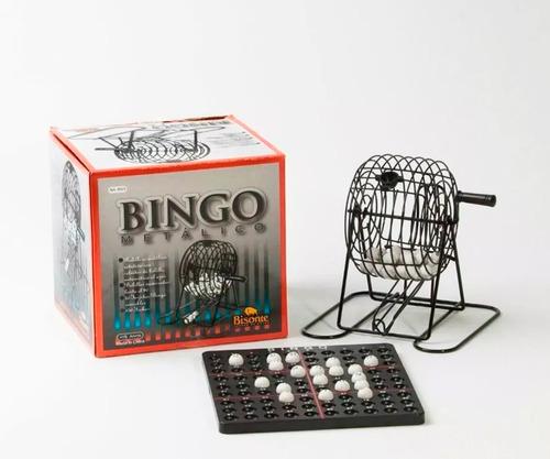 bingo con bolillero metalico y 90 bolitas bisonte