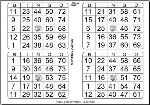 bingo cuartazos letras variadas 6 y 8 tablas por hoja
