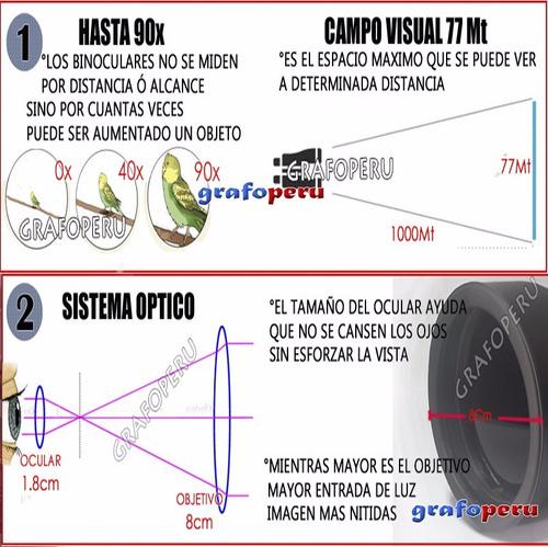 binocular galileo profesional 90x80 potente maximo alcance