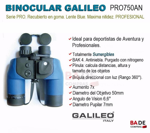 binocular profesional galileo 7x50 bak-4 sumergible pinula