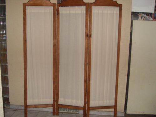 Biombo artesania de michoacan madera c tela color marfil - Telas para biombos ...