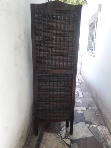 biombo de madera y junco 56 cm de ancho