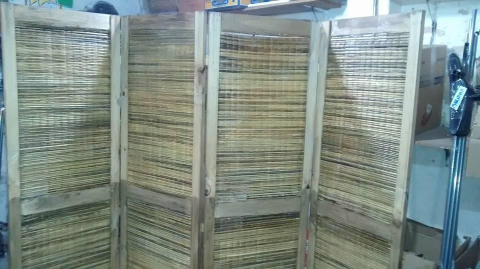 biombo de madera y junco precio x hoja