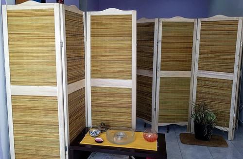 biombo junco y madera todo x 3 hojas  de 1.75 alto x 0.55 cm