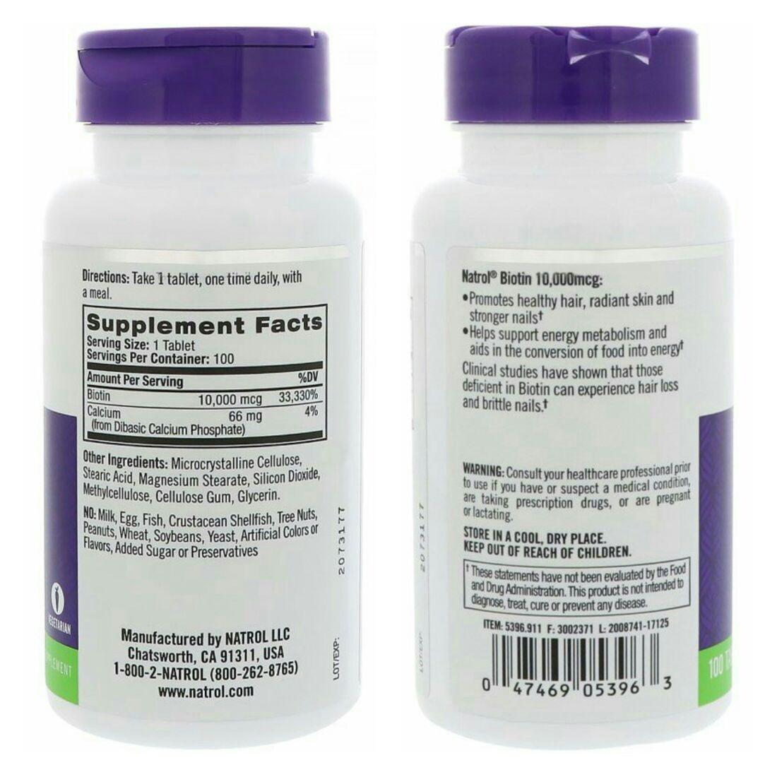 Biotina 10000mcg 100 Tablets Natrol Maximum Strength R 6290 Em Biotin 10000 Mcg Carregando Zoom
