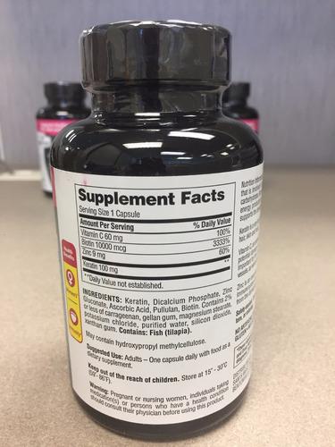 biotina / biotin 10000 mcg + keratina + vitamina c, 250 caps