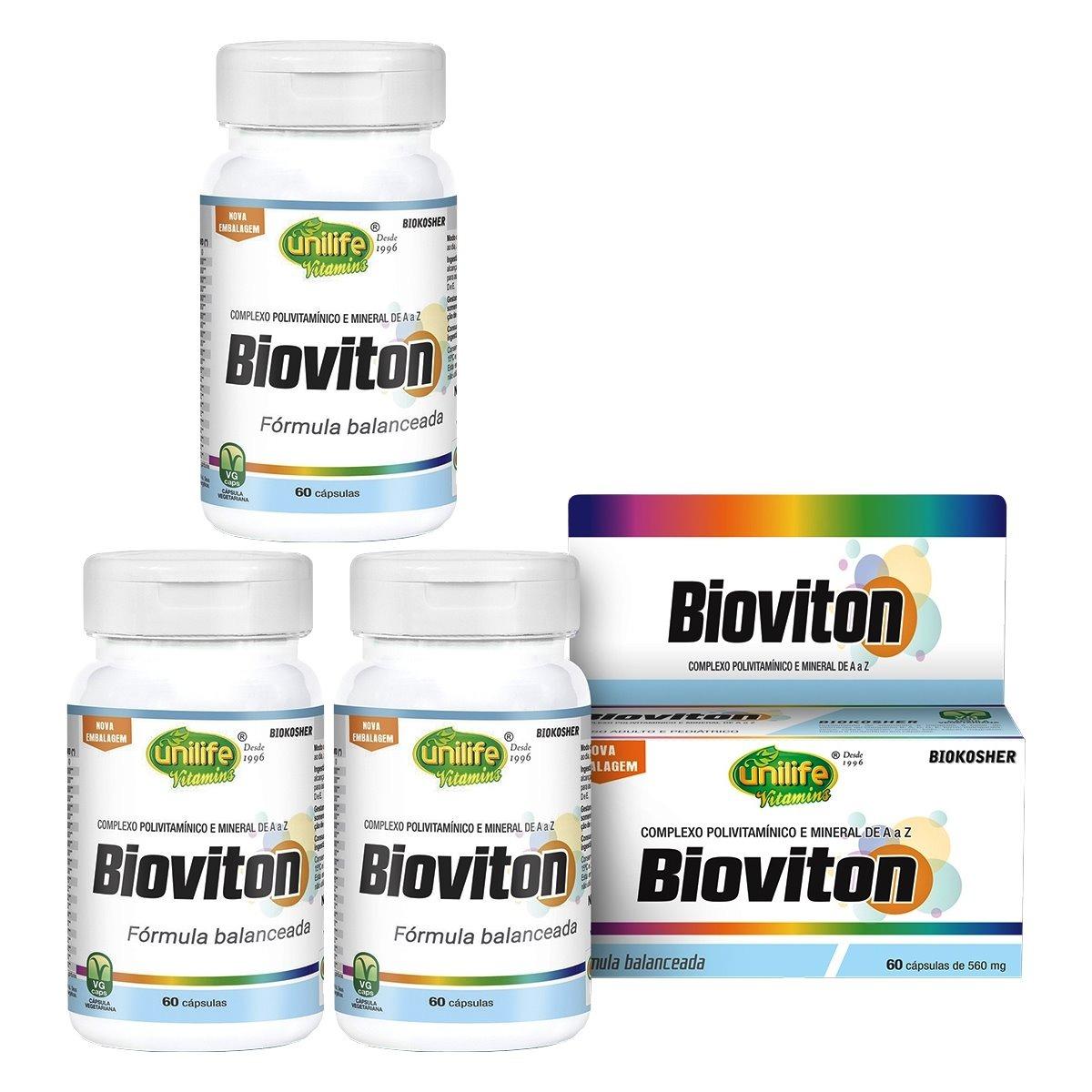 Bioviton Polivitaminico A - Z 60 Cáps 560mg Unilife Kit 3 Unidades