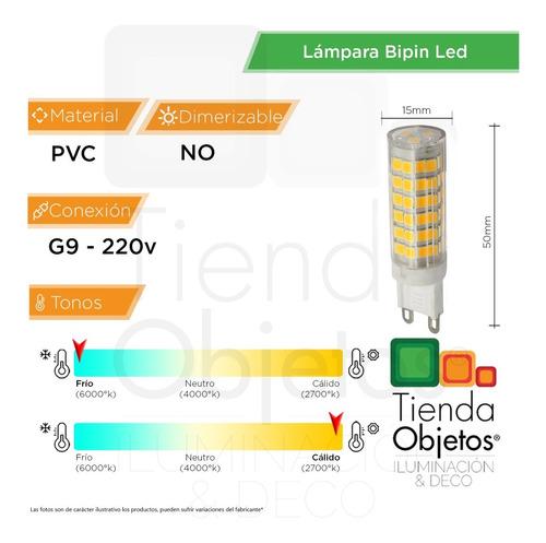 bipin 6w led g9 220v reemplazo 50w frio calido gtia 2 años