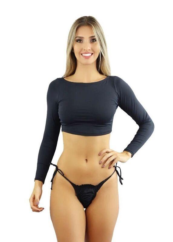 b7b8223741a3 Biquini Bikini Top Cropped Manga Longa Completo Verão B1
