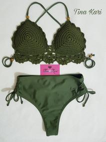 e7199dce1 Biquini Cintura Alta De Croche Mulher - Moda Praia no Mercado Livre ...