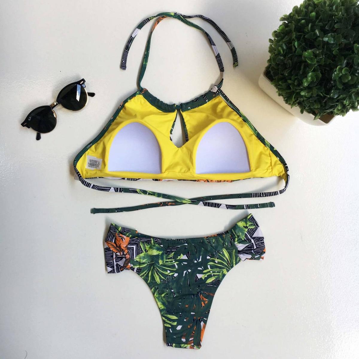 bd5c4d946ef4 Biquini Cropped Com Bojo Verde Maré Brasil - R$ 170,00 em Mercado Livre