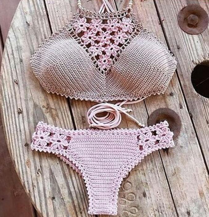 2d1ac2b75cf2 Biquini De Croche Cropped Com Flores E Bojo - R$ 65,00 em Mercado Livre