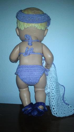 biquíni em crochê com viseira e saída de praia p baby alive