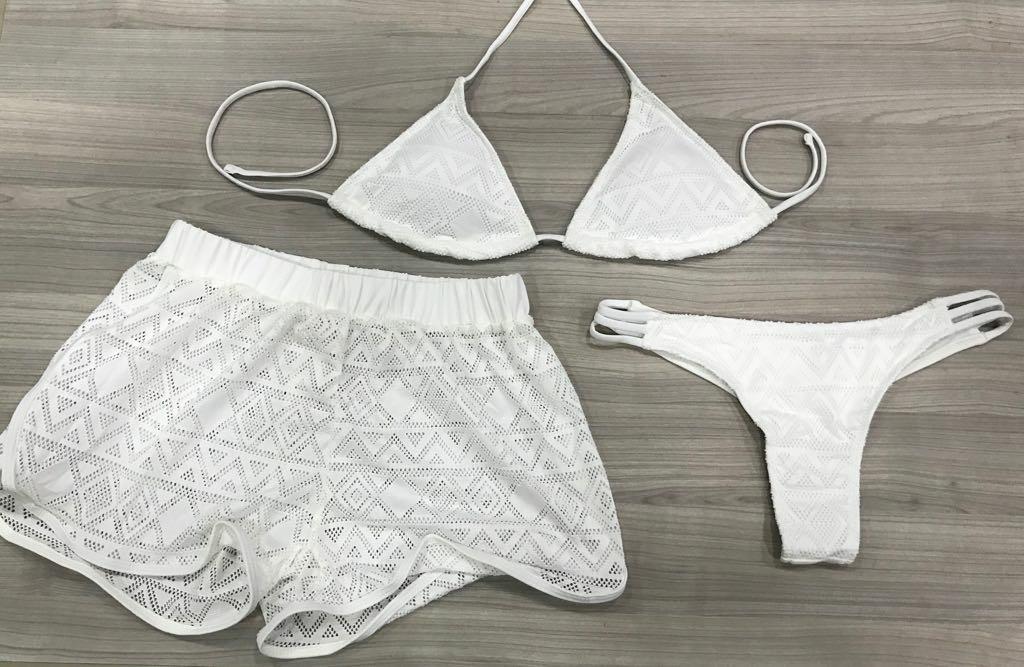 afc8549d6a33 biquíni em renda cortininha kit 3 peças com shorts. Carregando zoom.
